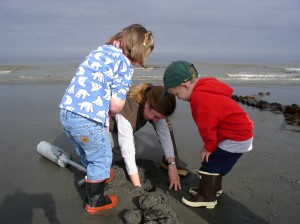 Clam digging is a popular family activity in Homer
