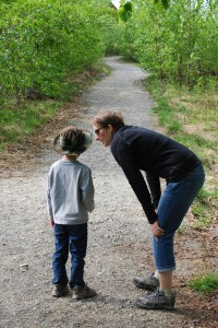 AK Kid gets a refresher on hiking rules from Mom on the Lodge Trail at McKinley Princess Lodge