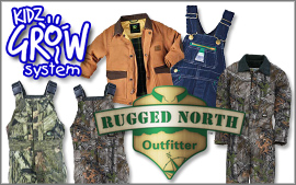 Youth, children and kids expandable clothing with Kidz Grow Walls playwear and sportswear in denim and hunting camo