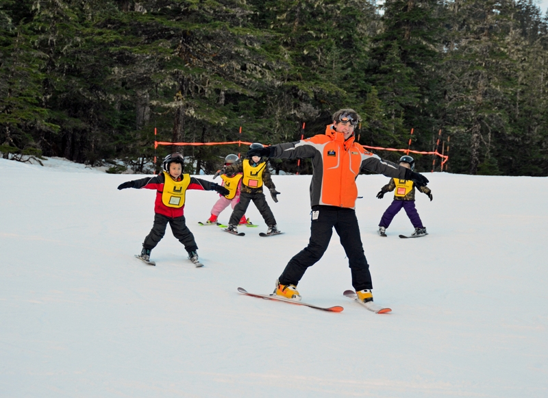 Follow the leader is a great way to learn skiing and communication skills. [image courtesy Eaglecrest]