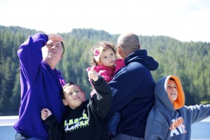 A family enjoys sightseeing from the deck of an Alaska Marine Highway vessel last summer.