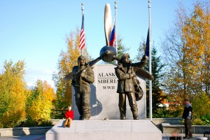 Dramatic and solid, the Alaska-Siberia Memorial in Fairbanks is a must-see in Griffin Park, downtown.
