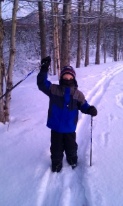 AK kid plies his Nordic skiiing skills in a park near our home in Anchorage.