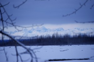 Denali's midsection peeks out from behind a cloud layer in Talkeetna.