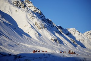 Hatcher Pass Lodge sits in a bowl of snow and towering mountains. Ahhh.