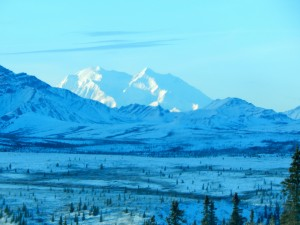 """Denali, """"The High One"""" peeks out from along the Denali National Park road system near Mile 10."""