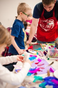 Hands-on, messy crafts mean kids are learning. [Image courtesy Fairbanks Children's Museum]