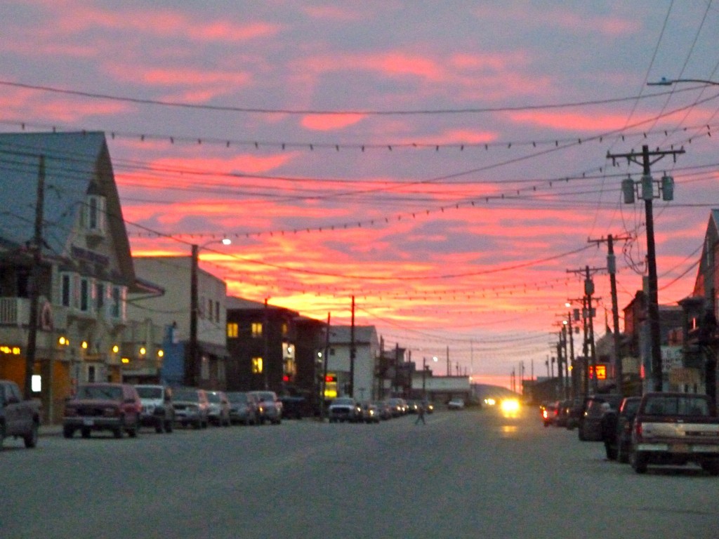 Nome's Front Street glows in a morning sunrise. Erin Kirkland/AKontheGO