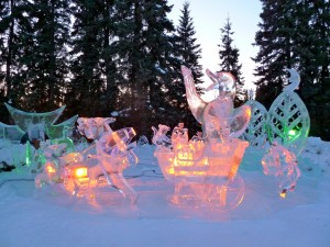 Sculptures are illumated by colored lights at Ice Alaska in Fairbanks. Erin Kirkland/AKontheGO