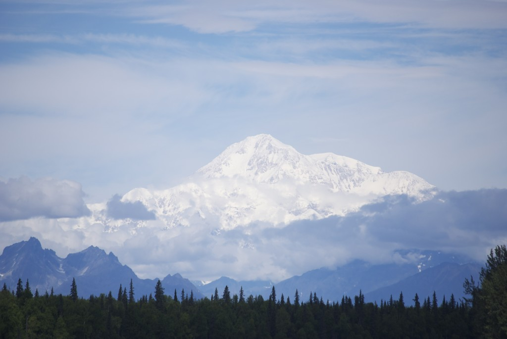 Denali (Mount McKinley) rises above the landscape along the Denali Star route.