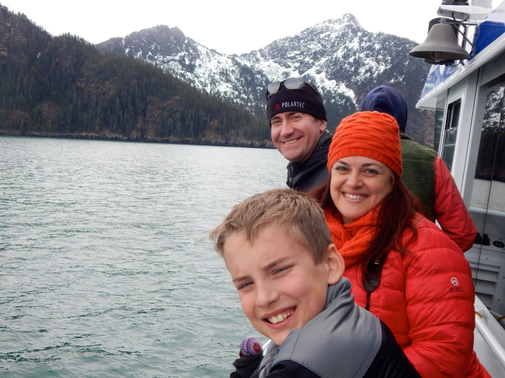 AK Kid, fellow blogger Kristi Timmer, and Bryan Bears enjoy a day cruise with Kenai Fjords Tours.