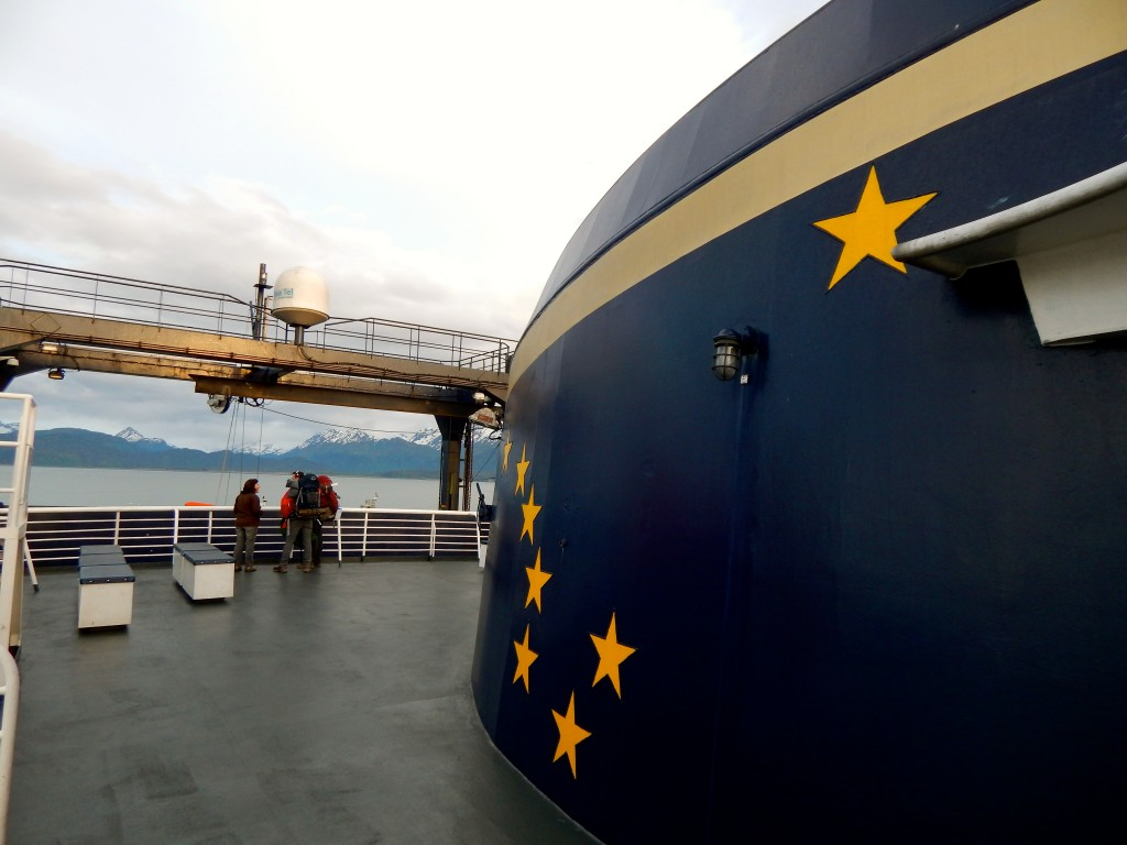 "Smokestacks of all Alaska Marine Highway vessels sport the Alaska flag's ""Eight stars of gold on a field of blue."" Erin Kirkland/AKontheGO"