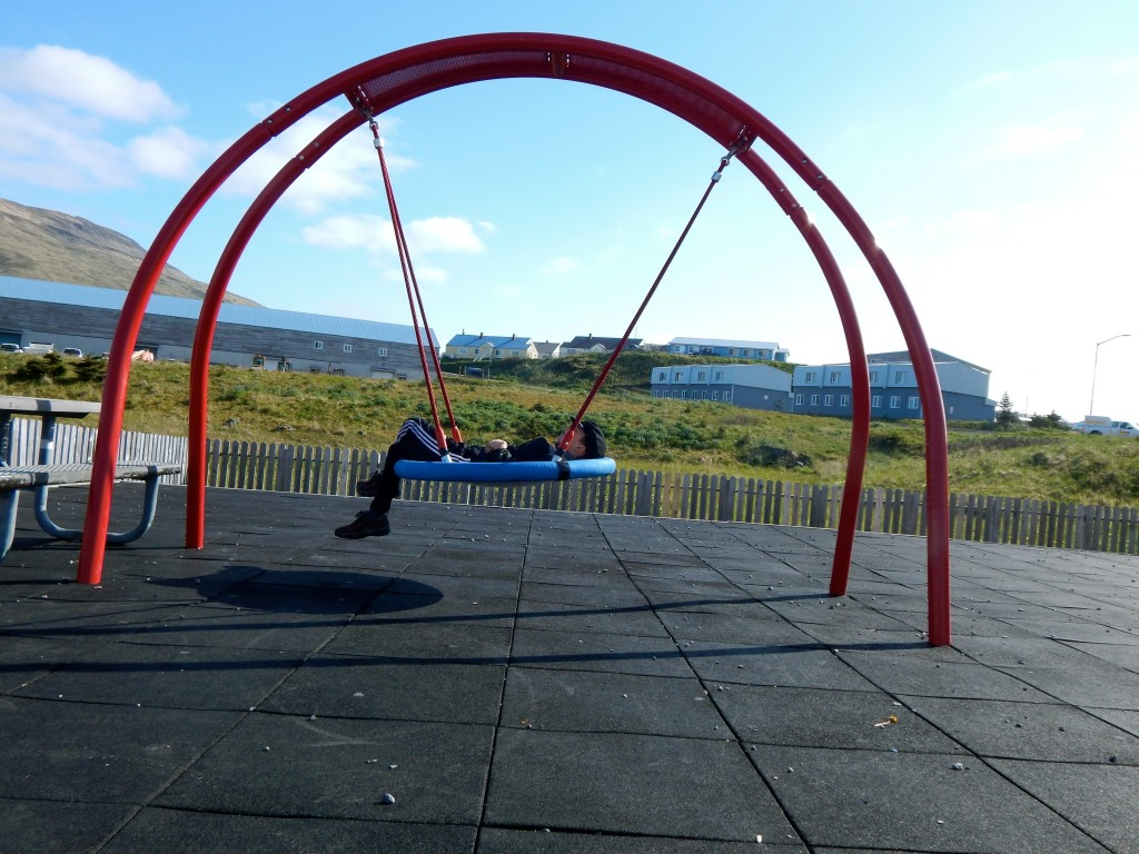 Keep in touch with AKontheGO and find out where AK Kid discovered this cool swing during our Unalaska Dutch Harbor adventure. Erin Kirkland/AKontheGO