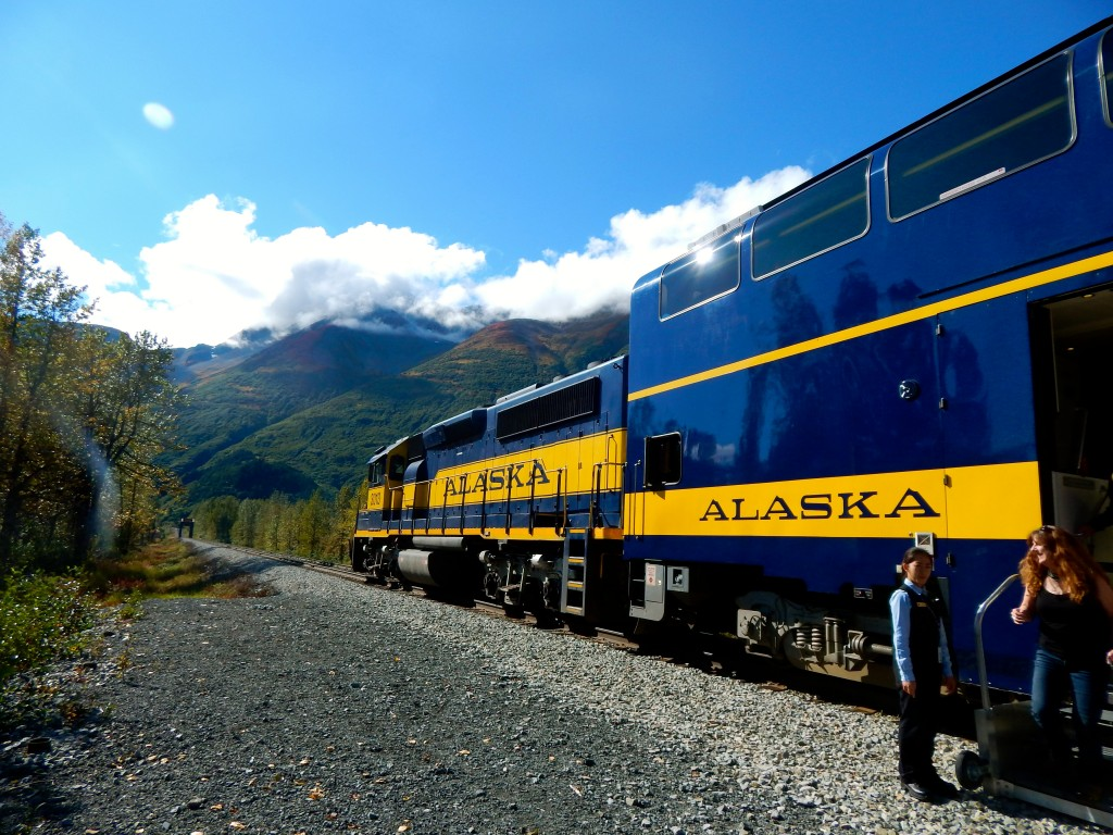Climbing aboard the Alaska Railroad's Glacier Discoverer train. Erin Kirkland/AKontheGO