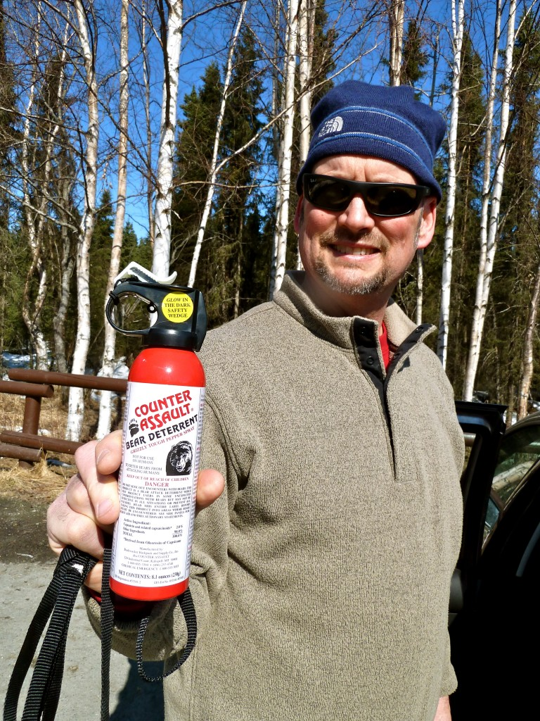AK Dad with his trusty Counter Assault bear spray. Erin Kirkland/AKontheGO