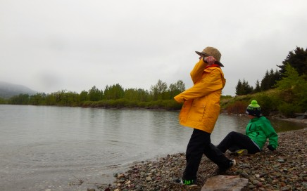 Skipping rocks in St. Mary Lake along Red Eagle Trail. Erin Kirkland/AKontheGO