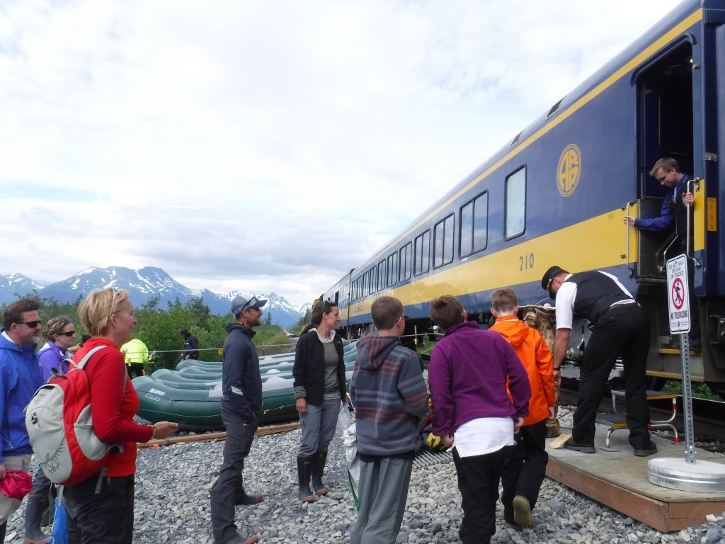 A highlight of the Chugach Adventures Placer River float is the wilderness pick-up by the Alaska Railroad. Danielle Benson/AKontheGO