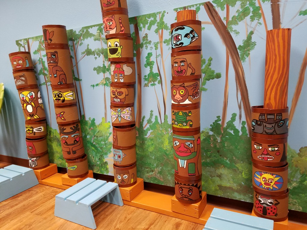 A stand of totem poles ready for young storytellers at Kaleidoscape Play Studio in Anchorage. Erin Kirkland/AKontheGO