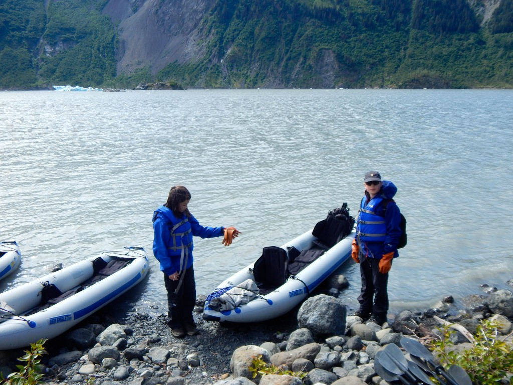 Prepping the inflatable kayaks for a paddle around Grewingk Glacier. Erin Kirkland/AKontheGO