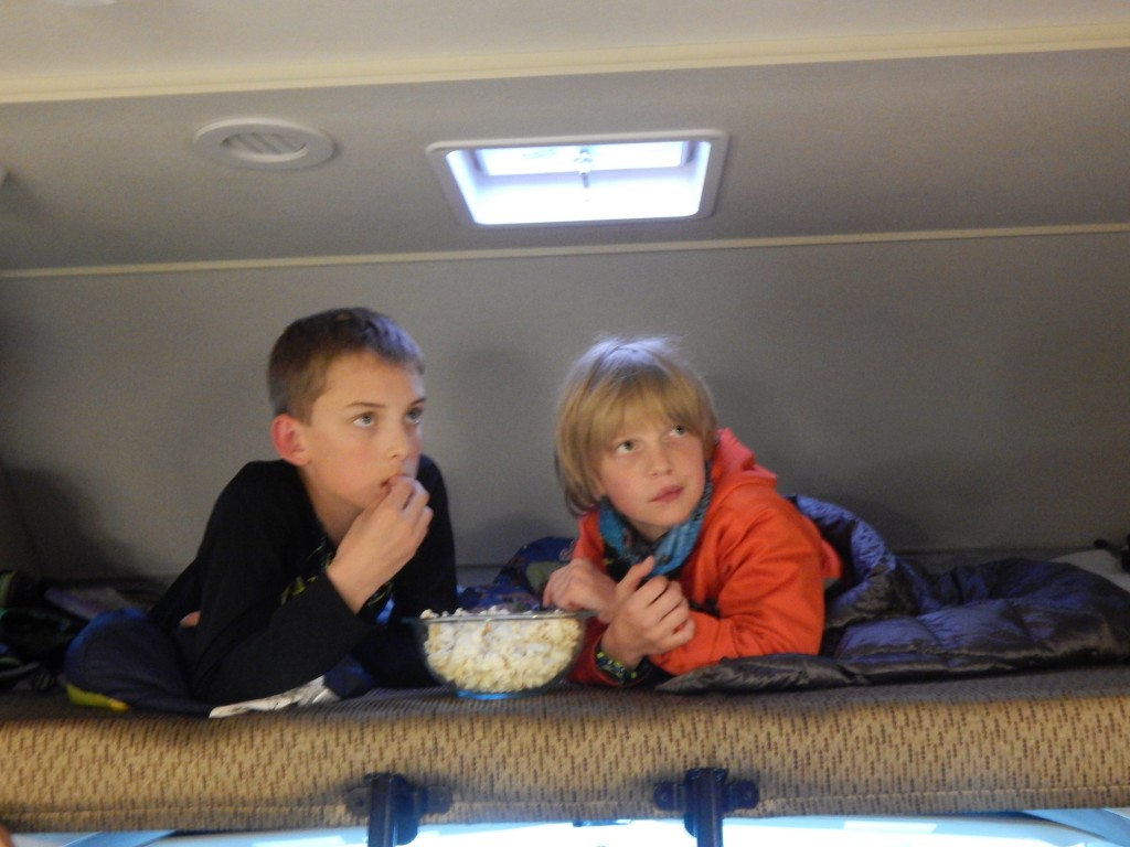 Two boys fit nicely in the loft area of our 31-foot motorhome. Erin Kirkland/AKontheGO