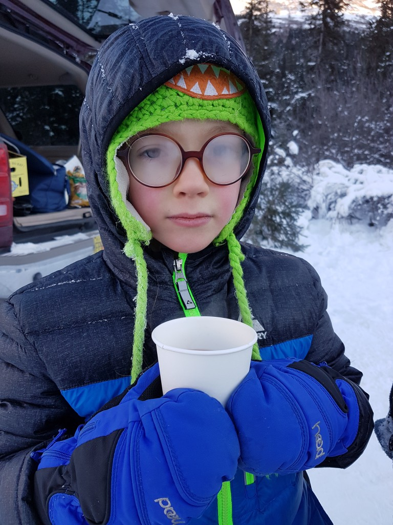 Hot chocolate at -6 tastes extra good, but your glasses steam up! Erin Kirkland/AKontheGO